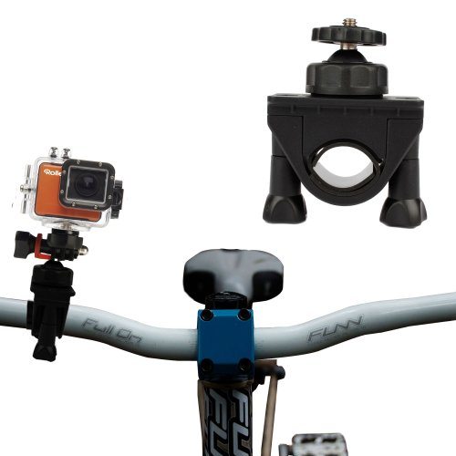 DURAGADGET Secure Clamp On Road Bike/Bicycle Action Cam Mount For Rollei S-50 WiFi Nitro Circus/Ski/Standard & Rollei 5S WiFi Action Cameras & Garmin Virb Elite GPS (Shot Ski Bracket compare prices)