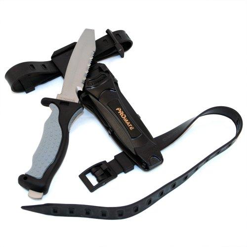 Promate Blunt Tip Titanium Dive Knife - KF595, Gray/Black, Blunt Tip