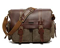 "Kattee Vintage Look Leather Canvas Messenger Bag Fit 14"" Laptop"