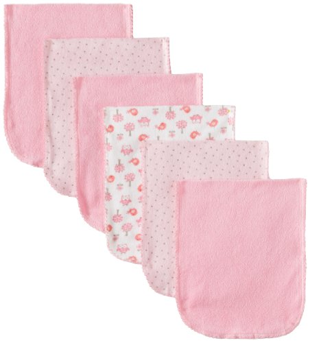 Gerber Baby-Girls Newborn 6 Pack Terry Owl Burpcloth, Owl Pink, One Size