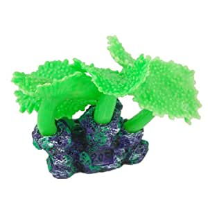 Uxcell Silicone Aquarium Artificial Decoration Coral Ornament, Green