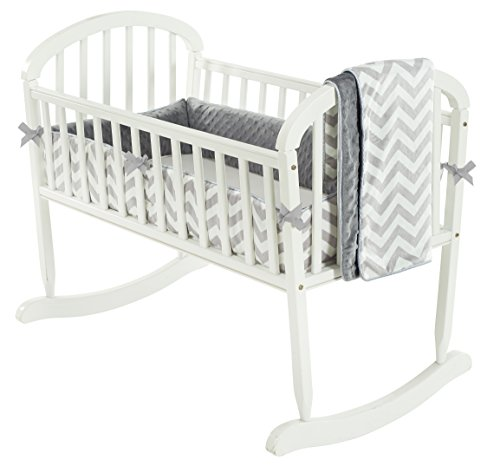 Baby Doll Minky Chevron Cradle Bedding Set, Grey