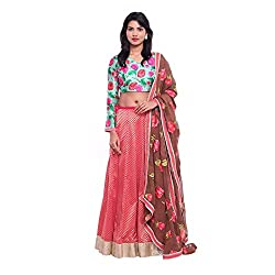 Peach brocade lehenga with turquoise full sleeve blouse with brown georgette duppatta