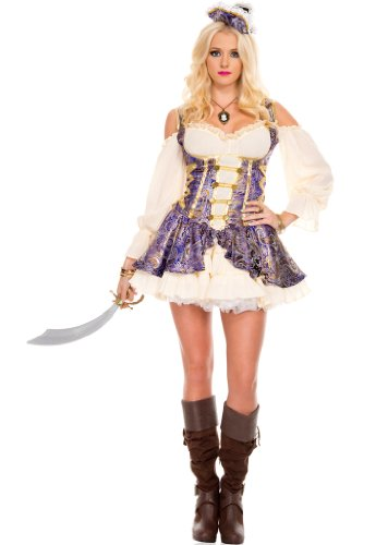 Celina Women's Renaissance Medieval Pirate Wench Costume Set (2 Piece)