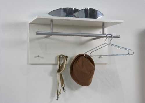 TIDY Wall Mounted Coat Hooks Rack Stand With Coat Rail & Storage Shelf in White Colour - by DMF