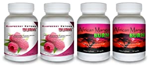 Raspberry Ketone Burn 2 Bottles African Mango Burn 2 Bottles Highly Concentrated Raspberry Ketones Fat Burning Supplement Plus Pure Irvingia Gabonensis Appetite Suppressing Superfruit Diet Pill Natural Combination For Quick Weight Loss by Raspberry Ketone