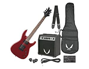 Dean Electric Guitar Starter Pack with Vendetta XMT Metalic Red, 10 Watt Amp, Gig Bag, Cord, Strap, Picks