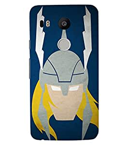 ColourCraft Warrior Look Design Back Case Cover for LG GOOGLE NEXUS 5X