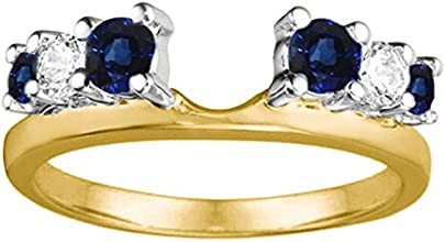 Silver Double Shared Prong Graduated Six Stone Ring Wrap with Diamonds and Sapphire 075 ct twt