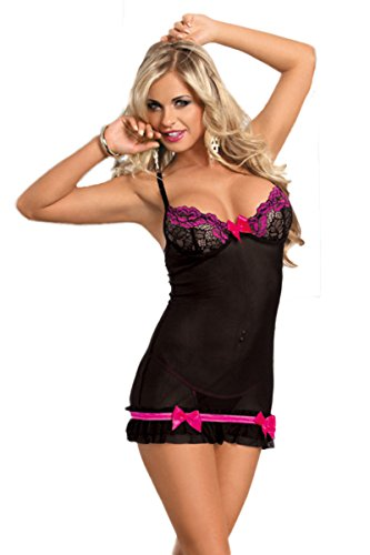 O'Mango Sexy Black Mesh and Lace Lingerie Dress With Bow and Ruffle Detail, Cut-outs at Back and Bum, Matching Thong (XL)