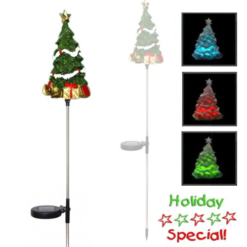Encore H5170 Solar Powered Color Changing Christmas Tree Garden Stake, Multi-Color