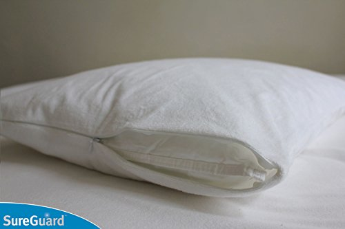 Set of 2 SureGuard Pillow Protectors - 100% Waterproof - Hypoallergenic - Breathable Soft Cotton Terry Cover - Zippered Pillowcase Blocks Bed Bugs, Dust Mites, Allergens, Mildew & Mold - Superior Quality - 30 Day Return Guarantee - 10 Year Warranty good quality one year guarantee inductive nj40 u1 w4 proximity switch