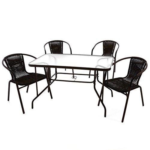 5er-Bistroset-Garnitur-Sitzgruppe-Gartengarnitur-Glastisch-eckig-braun-Balkon-mit-Schirmloch-4-Sthle-braun-wetterfest-witterungsbestndig-Stahlrahmen