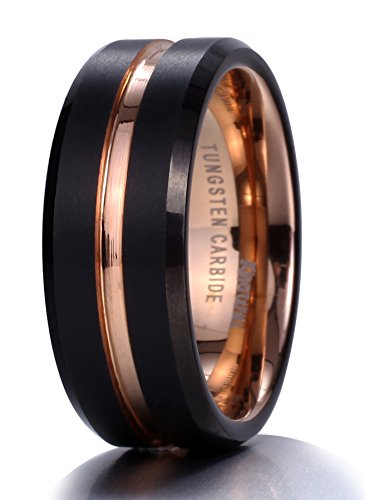 King Will Mens 8mm Black Matte Finish Tungsten Carbide Ring 18K Rose Gold Plated Beveled Edge Wedding Band(10.5)
