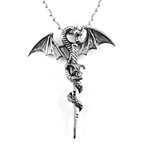 "Chaomingzhen Stainless Steel Vintage Cross Dragon Mens Pendant Necklace with Chain19.5"" Gothic Punk Style"