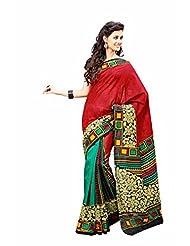First Loot Designer Raw Silk Red Saree -2357