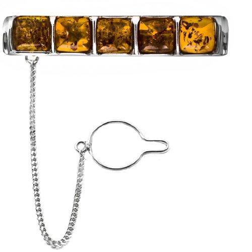 Men's Sterling Silver Honey Amber Square Slider Tie Pin