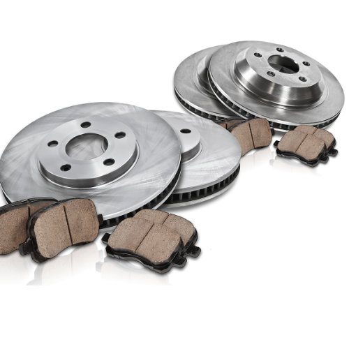 Callahan FRONT 311 mm 6 Lug + REAR 335 mm 6 Lug Premium OE [4] Rotors + [8] Quiet Low Dust Ceramic Pads Kit CK003522