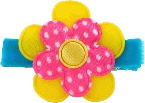 Bow Allure Riverland No Slip Flower Hair Clip For Toddlers And Girls, Hot Pink, Yellow and Turquoise