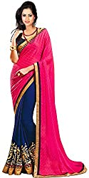 Avsar Prints Women's Faux Georgette Saree (M103, Pink and Blue)