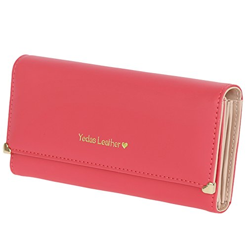 FUNOC Synthetic Leather Women Wallet Purse Credit Card Clutch holder Case (Watermelon Red)