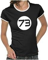 Touchlines Damen T-Shirt Sheldons Best Number 73 Girlie Ringer Kontrast