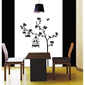 Easy Instant Decoration Wall Sticker Decal - Parisian Spring Bird  in Tree Silhouette