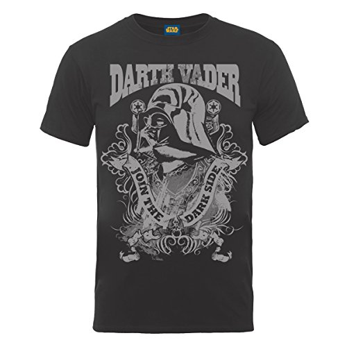 Star Wars - T-shirt, Uomo, Grigio (Grey (Charcoal)), L