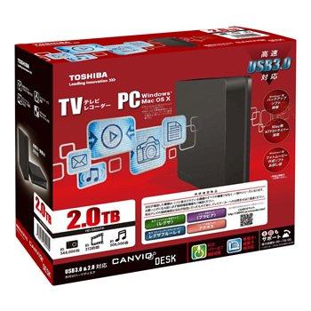 東芝 USB3.0接続 外付けハードディスク 2.0TB(ブラック)TOSHIBA CANVIO DESK HD-EB20TK