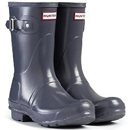 Women\'s Hunter Boots Original Short Gloss Snow Rain Boots Water Boots Unisex - Graphite - 8