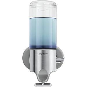 simplehuman Wall Mount Pumps, Single 15 fl. oz. Shampoo & Soap Dispenser, Stainless Steel