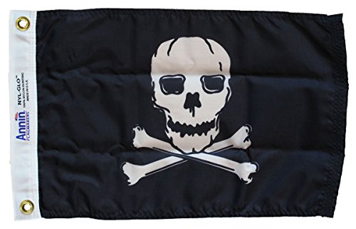 "Jolly Roger - 12"" x 18"" Nylon Flag Made by Annin"