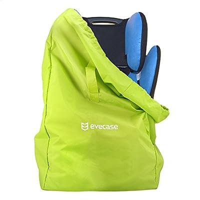 Kindersitz Transporttasche | Evecase® Ultra-Leicht Faltbarer Transportrucksack für Kinderautositze Babyschalen Kinderwagen mit Wasserdichtem Material / Tragegurt Polster - Grün