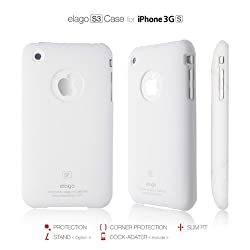 elago S3SF Case for iPhone 3G/3GS (Soft feeling)-White + Universal Dock Adapter + S2 Stand included