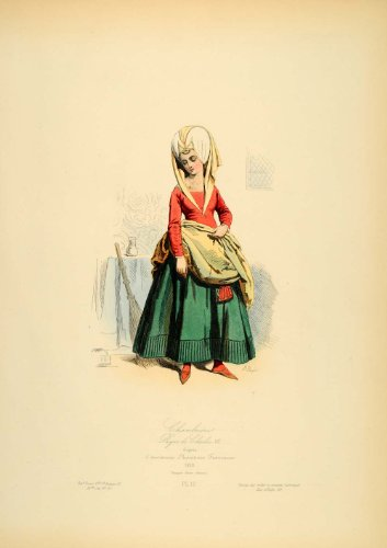 1870 French Medieval Costume Servant Maid Chambermaid - Original Copper Engraving (Chambermaid Costume)