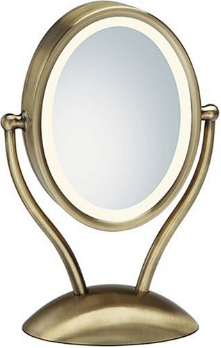 HoMedics M-9003 Spa Reflectives Illuminated Two-sided Magnifing Oval Beauty Mirror, Antique Bronze Finish