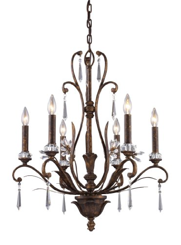 B001BUOWCK Elk 2183/6 6-Light Chandelier In Burnt Bronze