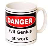'Danger Evil Genius at Work' - MugsnKisses Range - Mother's Day, Birthday, Christmas Office Tea Coffee Gift Mug