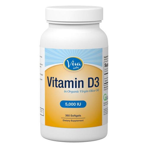 Viva Labs  Vitamin-D3 5000 IU: High Potency, Naturally Derived, GMO-Free, 360 Softgels
