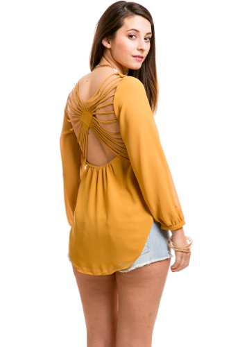 Sun Burst Caged Top In Mustard