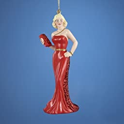 1 X Marilyn Monroe in Red Dress Christmas Ornament by Kurt S Adler
