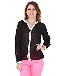 Bedazzle Black Women's Solid Party, Casual Reversible Shirt