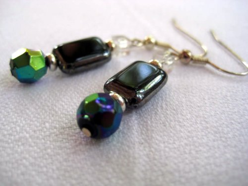 Rectangular Hematite Earrings with Crystal Cube