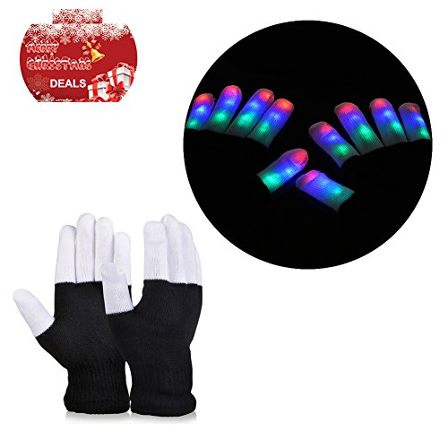 Vbiger LED Gloves Party Light Show Gloves- 7 Light Flashing Modes. The Best Gloving & Lightshow Dancing Lighting Gloves for Clubbing, Rave, Birthday, Edm, Disco, and Dubstep Party