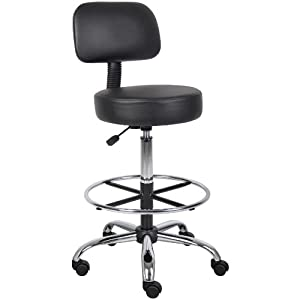 Boss B16245 BK Caressoft Medical Drafting Stool With Back Cushion