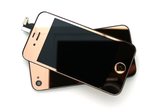 New For Iphone 4S Any Carrier Gsm/At&T Cdma/Verizon Mirror Metallic Half Gold/Full Gold/Silver/Blue/Light Blue/Pink Complete Front Housing Lcds Display And Touch Screen Digitizer Replacement Assembly+Home Button Key+Back Cover Housing Color Conversion Kit