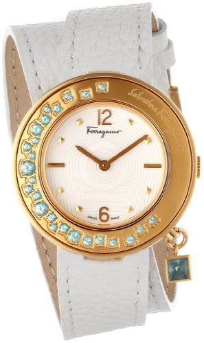 Ferragamo Women's F64SBQ52401 S001 Gancino Sparkling Gold Ion-Plated Rotating Turquoise Stone Bezel Double-Tour Leather Band Watch