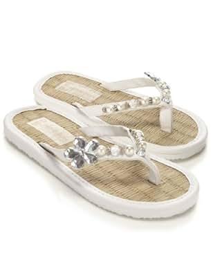 Monsoon Filles Tongs ornées de perles et de fleurs en pierres Taille Chaussures 27,5 Blanc