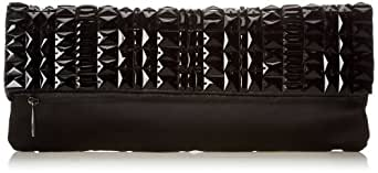 BCBG Rhianna Beaded Foldover Clutch,Black,One Size