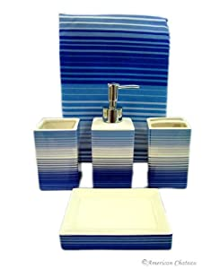 5pc Blue Retro Stripe Bath Bathroom Set Shower Curtain